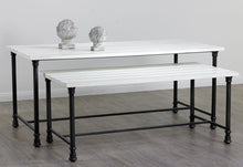 Large Nesting Table - White and Steel