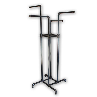 Pipe Style 4 Way Rack-Raw Steel