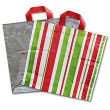 "Plastic Holiday Shopping Bags - 16"" x 15"" x 6"""