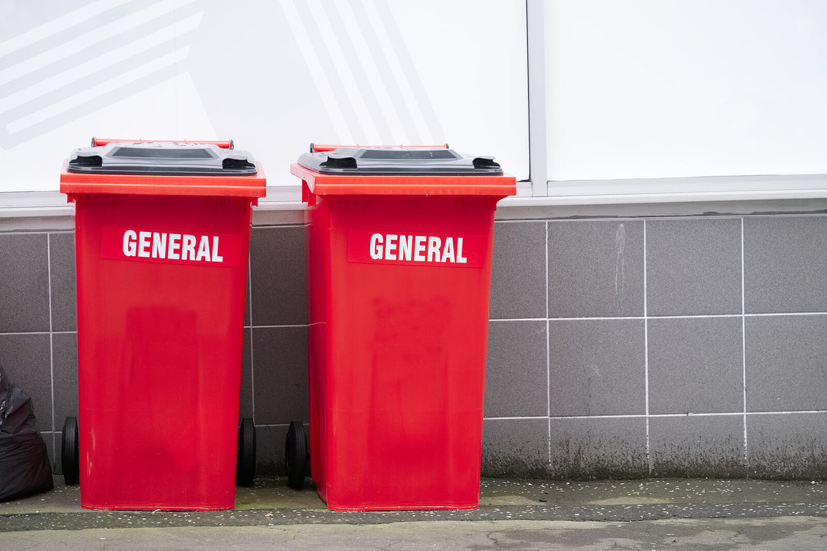 What are red wheelie bins used for?