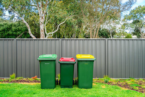wheelie bins in back garden