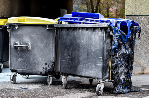 burnt and melted wheelie bin after fire