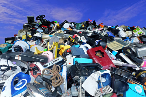 Electrical items creating a pile of landfill.