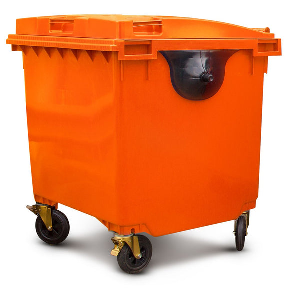 1100 Litre Wheelie Bin In Orange
