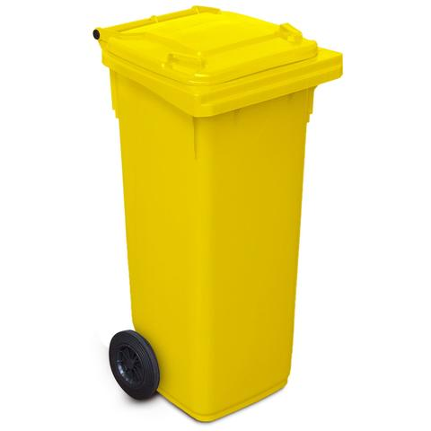 Yellow 140 Litre Wheelie Bin