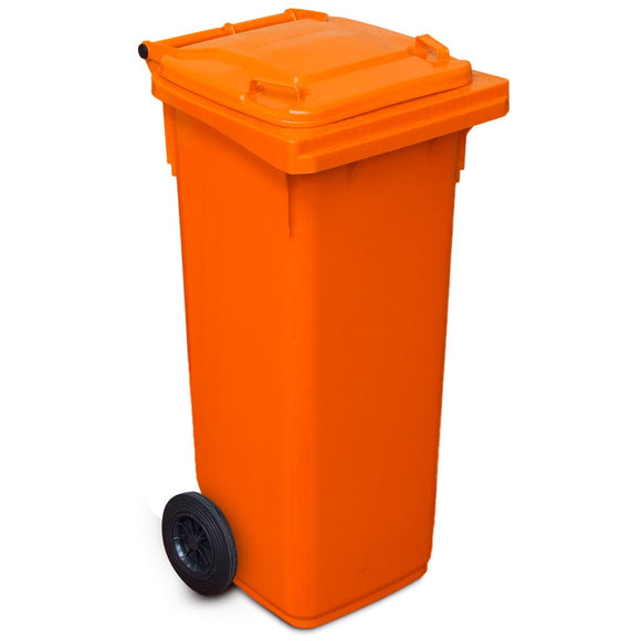 Orange 120 Litre Wheelie Bin