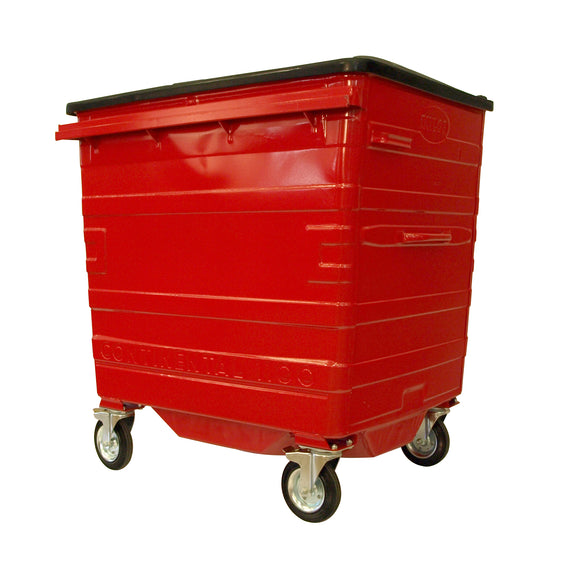 1100 Litre Red Metal Wheelie Bins