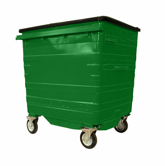 1100 Litre Green Metal Wheelie Bins