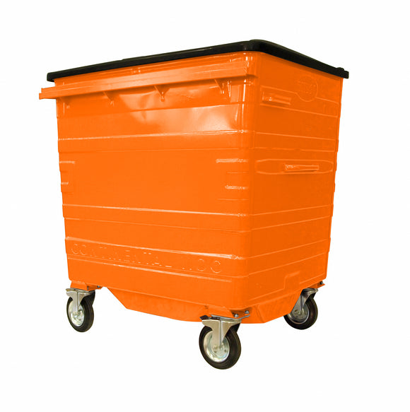 1100 Litre Orange Metal Wheelie Bins