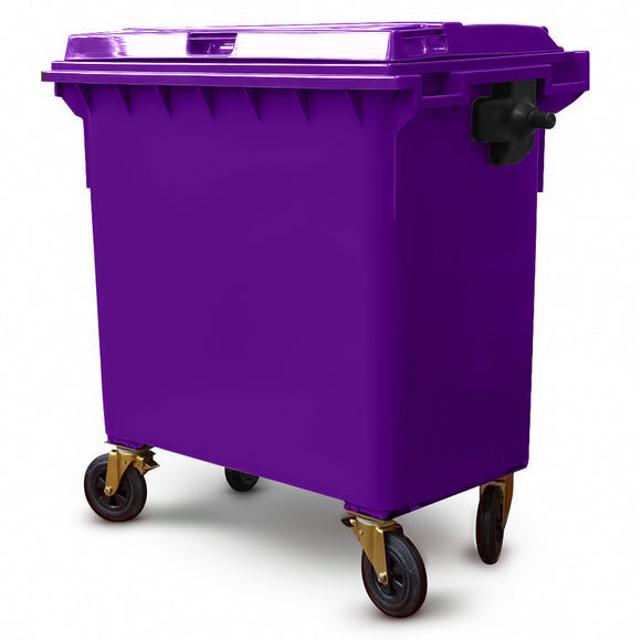 Purple 660 Litre Wheelie Bin