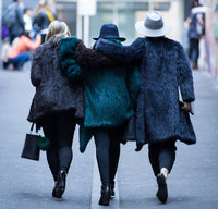 Women in fur coats walking Melbourne lane way in winter