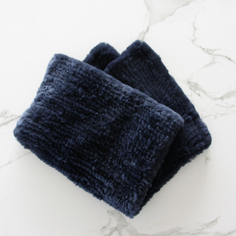 Navy Baby Size Rabbit Fur Blanket