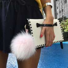 Load image into Gallery viewer, Light Pink Fox Fur Key Ring