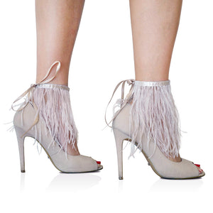 Blush Ostrich Feather Anklets