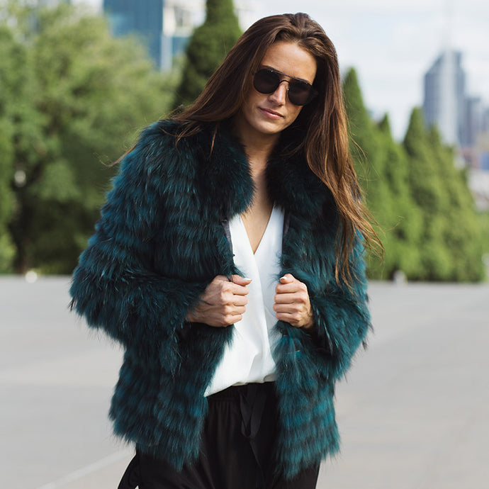 ROMANY Collared Raccoon Fur Jacket (2 colours)