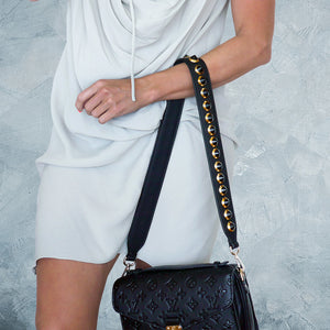 Leather Studded Strap - Black &  Gold