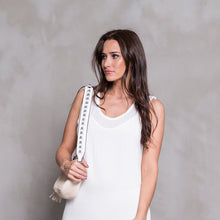 Leather Studded Strap - White & Silver