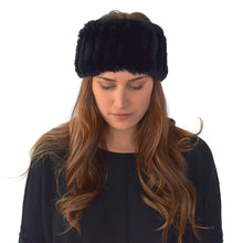 Load image into Gallery viewer, Black Rabbit Fur Headband