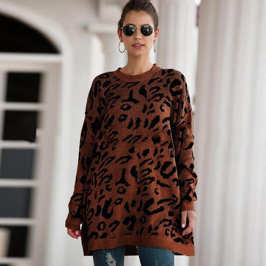 Brynn - Leopard Long Oversize Sweater
