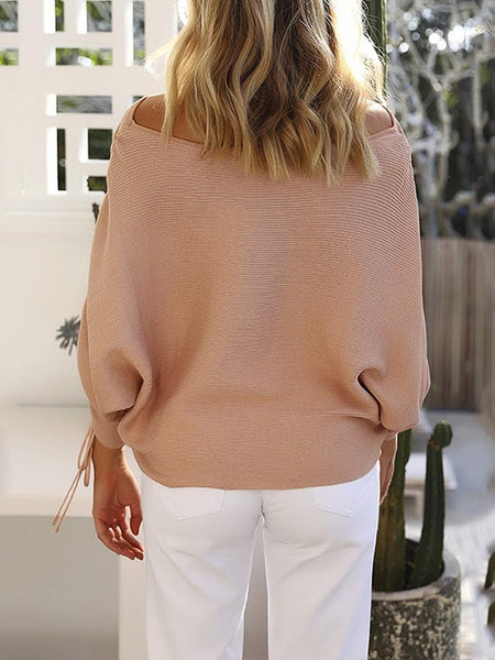 Audra - Skew Neck Knitted Sweater