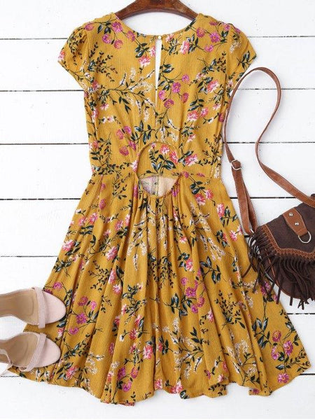 Eden - Lemon Yellow Cut-Out Dress