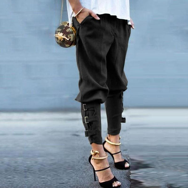 Buckle-Cuff Harem Pants