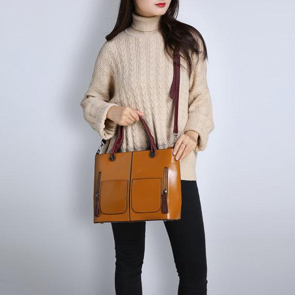 Casual Vintage Double Pocket Handbag