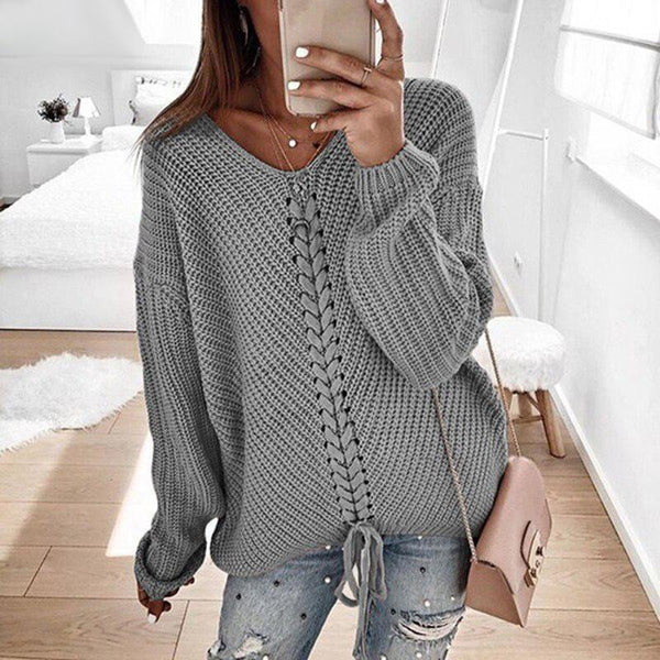 Amina - V-Neck Lace Up Knitted Sweater