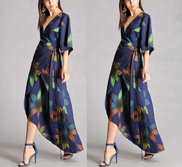 V-Neck Floral Wrap Dress