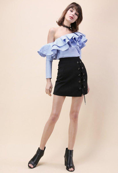 Ruffled One-Shoulder Blouse
