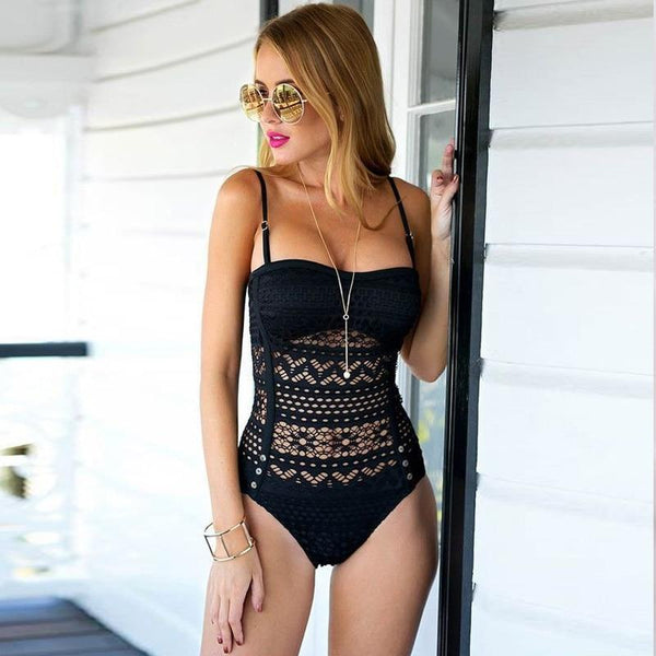 Evy - One Piece Hollow Out Lace Swimsuit