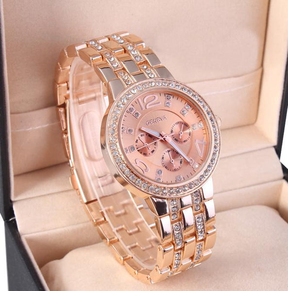 Rose Gold Rhinestone Watch - 80% Off
