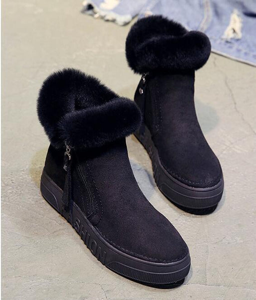 Malia - Side Zip Faux Fur High Rise Ankle Boots
