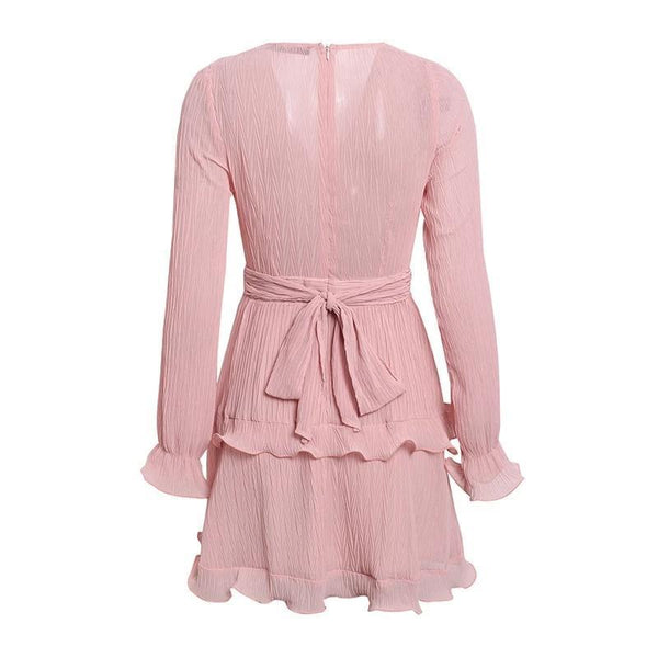 Eden - Pleated Chiffon Ruffle Dress
