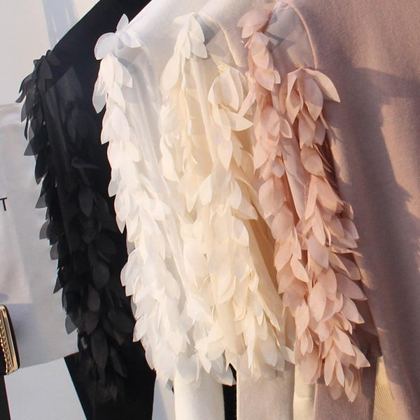 Lana - Ruffled Feather Sleeve High Neck Sweater