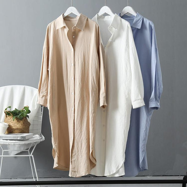 Eliana - Long Sleeve Cotton Maxi Shirt Dress