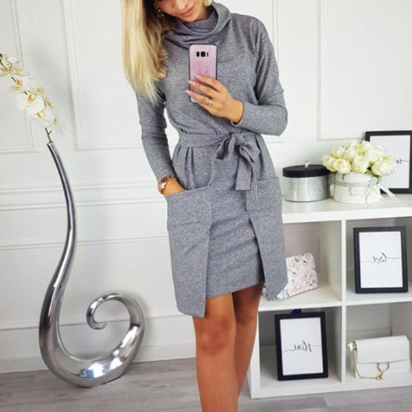 Alaina - Turtleneck Long Sleeve Waist Tie Sweater Dress