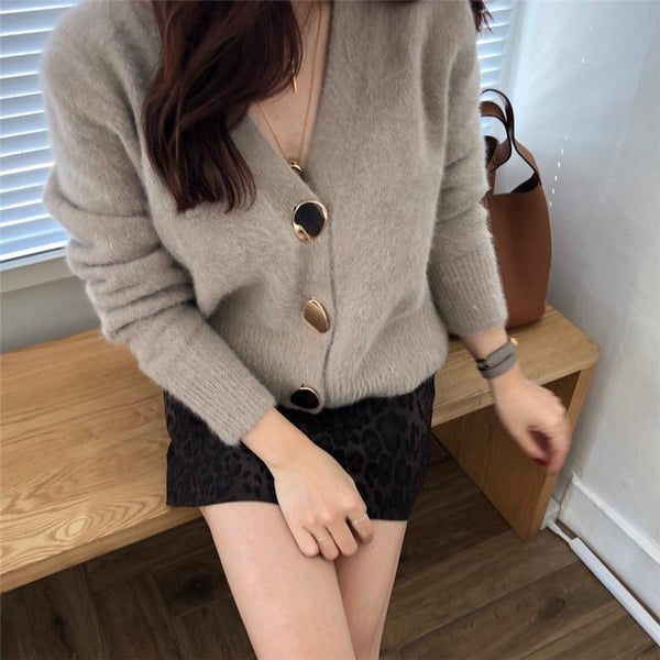 Tessa - Knitted Large Button Cardigan