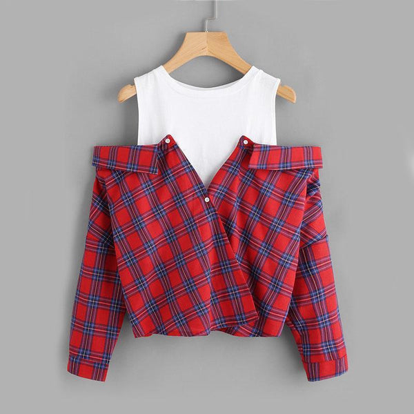Piper - Plaid Layered Blouse