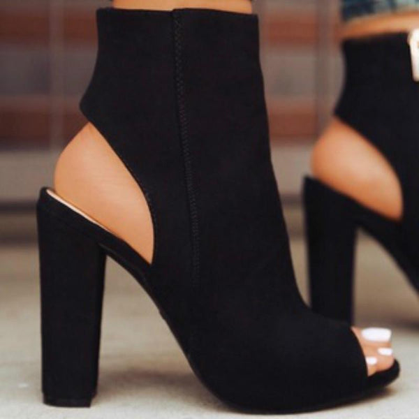 Cordelia - Faux Suede Peep Toe Ankle Boots