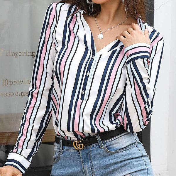 Nixie - Button Down Long Sleeve Blouse