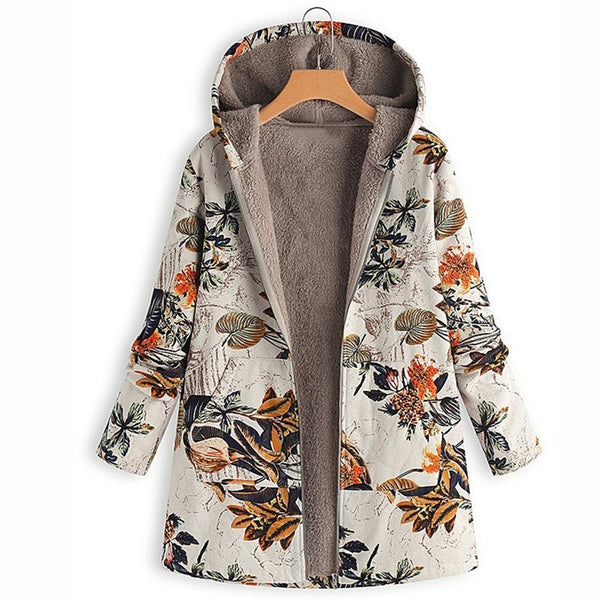 Jade - Vintage Floral Fleece Coat with Hood