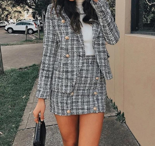 Madelyn - Matching Plaid Tweed Blazer & Skirt