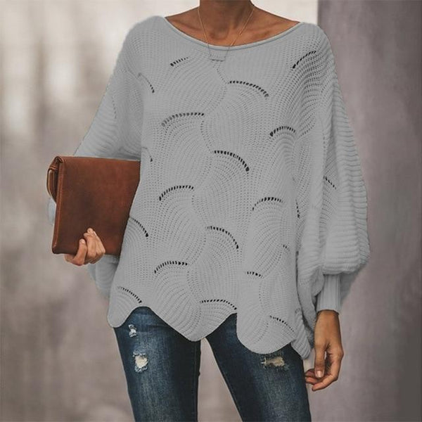 Delaney - Lantern Sleeve Wide Neck Sweater