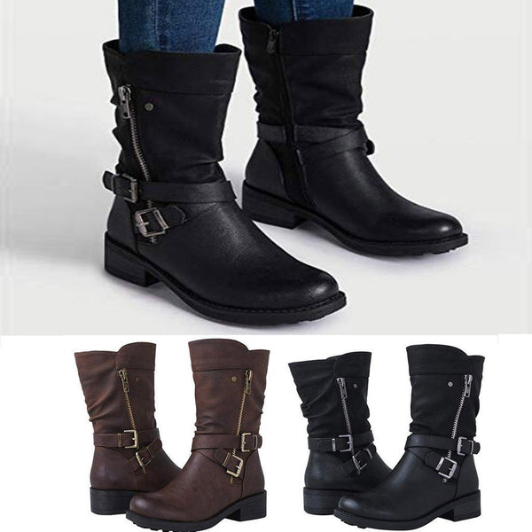Ginny - Buckle Strap Winter Boots