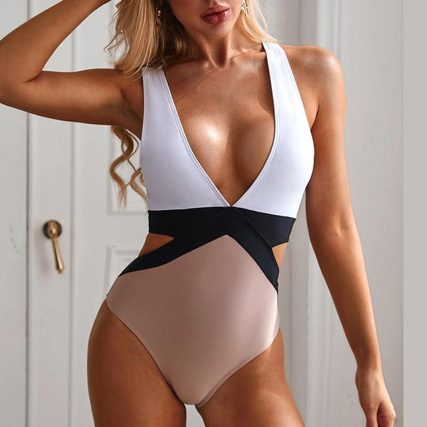 Shana - Hollow Out Deep V-Neck Monokini