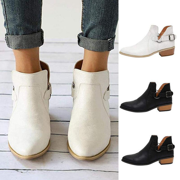 Britta - Buckle Strap Pointed Ankle Boots