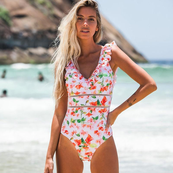 Molly - Deep V-Neck Ruffle Monokini