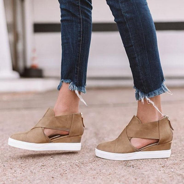 Freda - Faux Suede Wedge Shoes