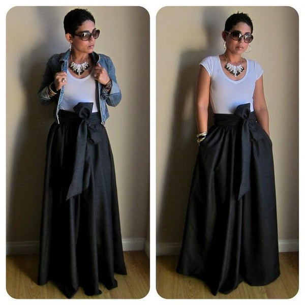 Bow Belt Maxi Skirt